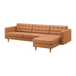 LANDSKRONA 4-seat sofa, with chaise longue, Grann/Bomstad golden-brown/wood