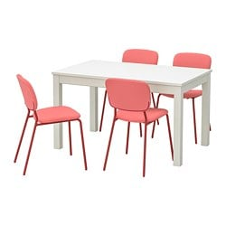 LANEBERG /  KARLJAN table and 4 chairs, white, red red