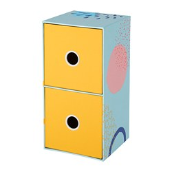 LANKMOJ mini chest with 2 drawers, multicolour