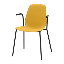 LEIFARNE chair with armrests, dark yellow, Dietmar black