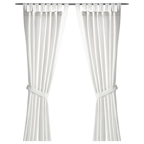 LENDA curtains with tie-backs, 1 pair white 250 cm 140 cm 1.70 kg 3.50 m² 2 pieces
