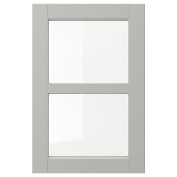 LERHYTTAN Glass door, light grey, 40x60 cm
