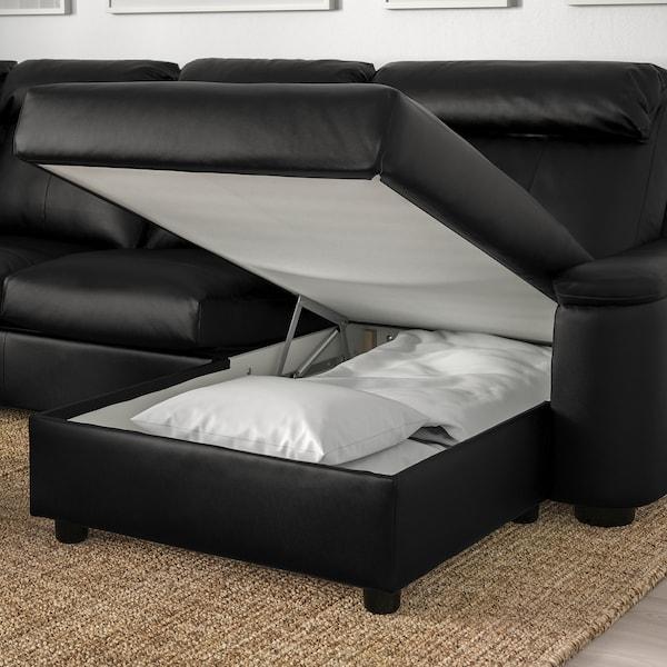 LIDHULT Corner sofa, 6-seat, with chaise longue/Grann/Bomstad black