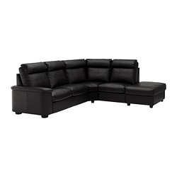 LIDHULT corner sofa, 5-seat, with open end, Grann/Bomstad black