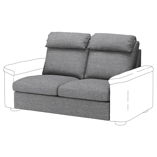 LIDHULT Cover for 2-seat sofa-bed section, Lejde grey/black