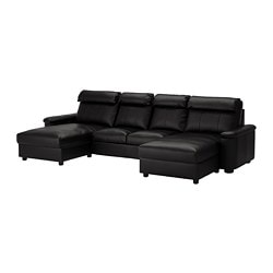 LIDHULT 4-seat sofa, with chaise longues, Grann/Bomstad black