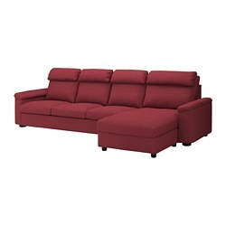 LIDHULT 4-seat sofa, with chaise longue, Lejde red-brown