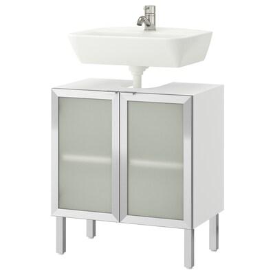 LILLÅNGEN / TYNGEN wash-basin base cabinet w 2 doors white/aluminium Pilkån tap 60 cm 60 cm