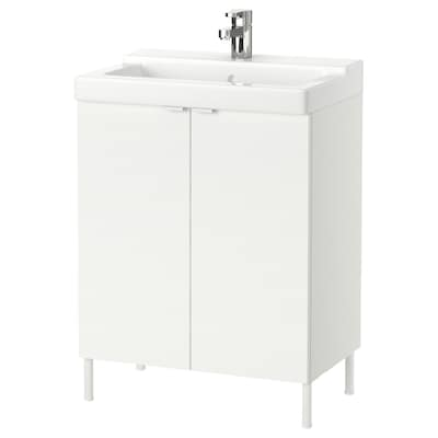 LILLÅNGEN washbasin cabinet with 2 doors white/Ensen tap 61 cm 41 cm 82 cm
