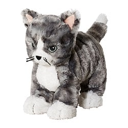 LILLEPLUTT soft toy, cat grey, white