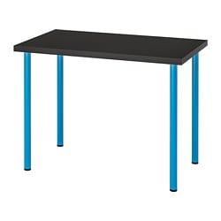 LINNMON /  ADILS table, black-brown, blue