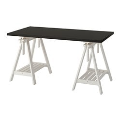 LINNMON /  FINNVARD table, black-brown, white