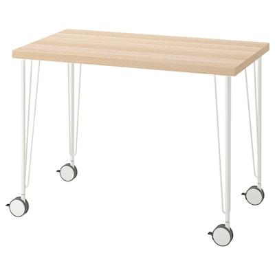LINNMON / KRILLE Desk, white stained oak effect/white, 100x60 cm