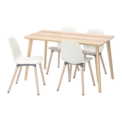 LISABO / LEIFARNE Table and 4 chairs, ash veneer, white