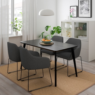 LISABO / TOSSBERG Table and 4 chairs, black metal/grey, 140/78 cm