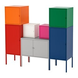 LIXHULT storage combination, red/orange/grey pink/white, blue/green