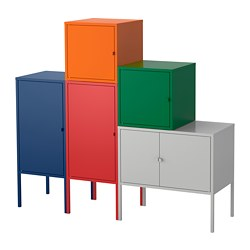 LIXHULT storage combination, dark blue red/orange/grey, dark green