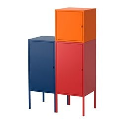 LIXHULT storage combination, dark blue, red/orange