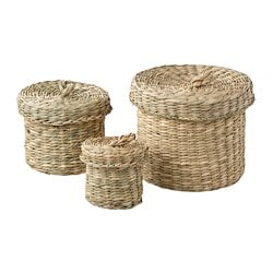 LJUSNAN box with lid, set of 3, seagrass