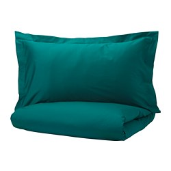 LUKTJASMIN quilt cover and 2 pillowcases, dark green