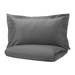 LUKTJASMIN quilt cover and 2 pillowcases, dark grey
