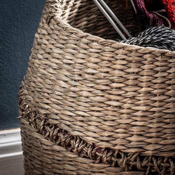 LUSTIGKURRE Basket, natural seagrass, 50x40 cm