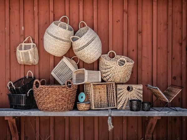 LUSTIGKURRE Basket, natural water hyacinth/seagrass, 33x46x37 cm