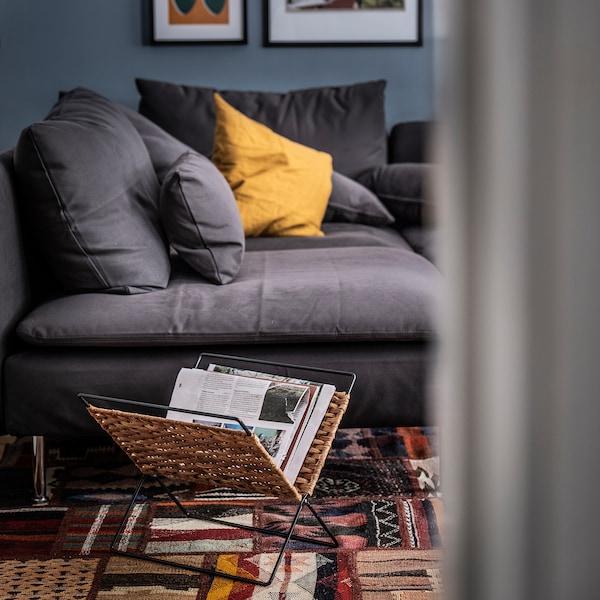 LUSTIGKURRE Magazine stand, natural/black, 35x35 cm