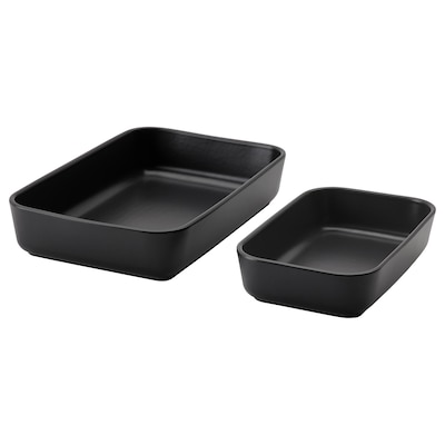 LYCKAD Oven/serving dish set of 2, dark grey