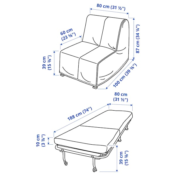 LYCKSELE LÖVÅS Chair-bed, Ransta natural