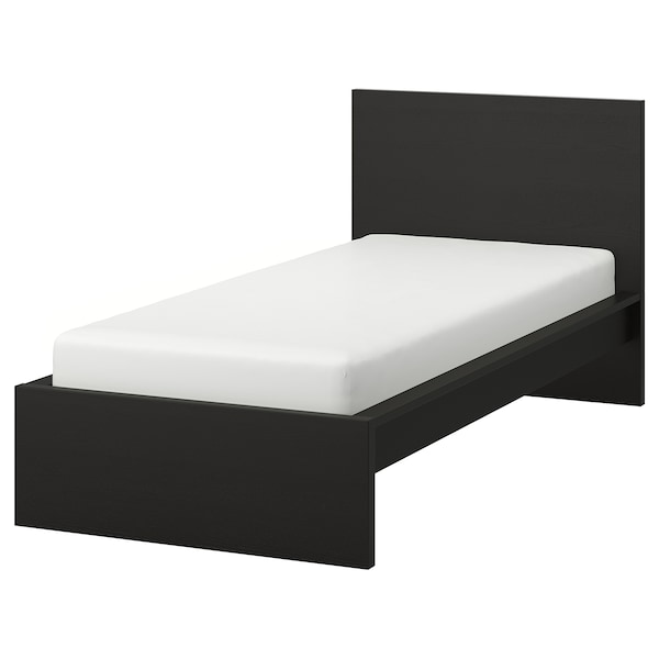 MALM Bed frame, high, black-brown/Lönset, 90x200 cm