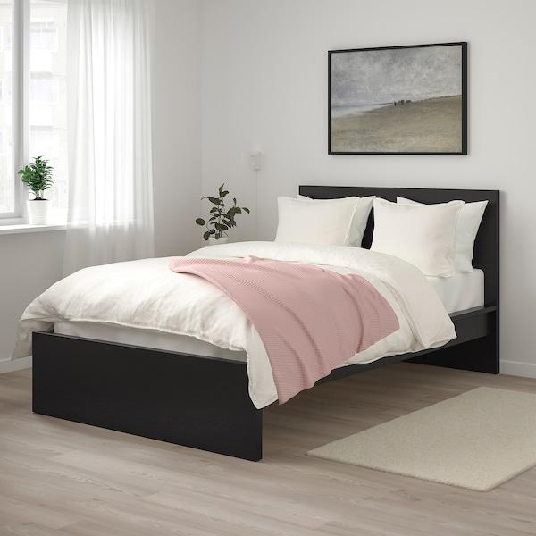 MALM Bed frame, high, black-brown/Lönset, 120x200 cm
