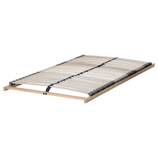 MALM Bed frame, high, brown stained ash veneer/Lönset, 120x200 cm