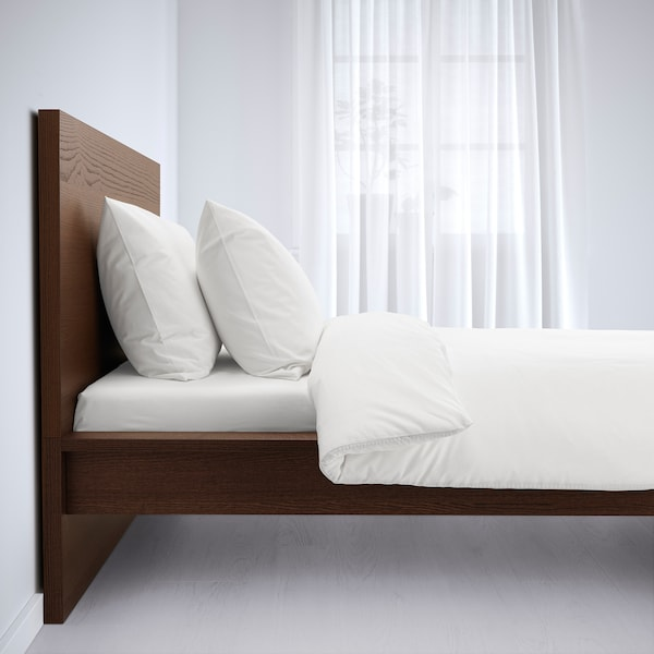 MALM Bed frame, high, brown stained ash veneer, 120x200 cm