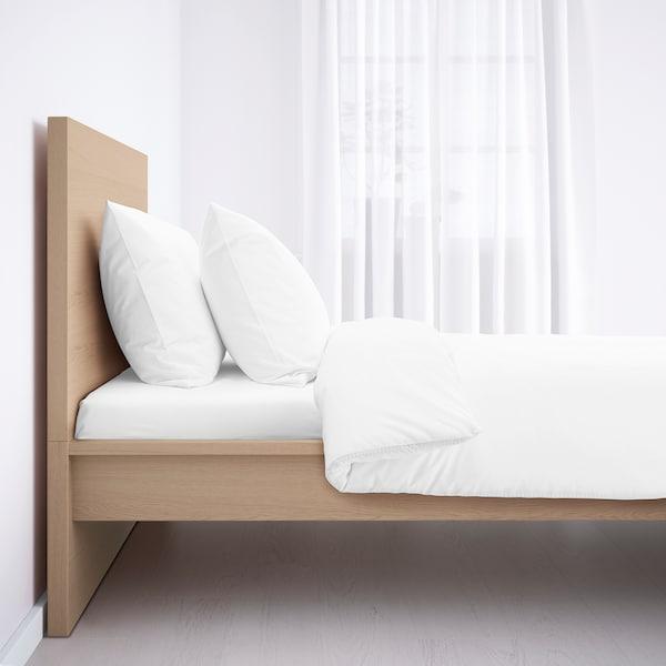 MALM Bed frame, high, white stained oak veneer/Lönset, 90x200 cm