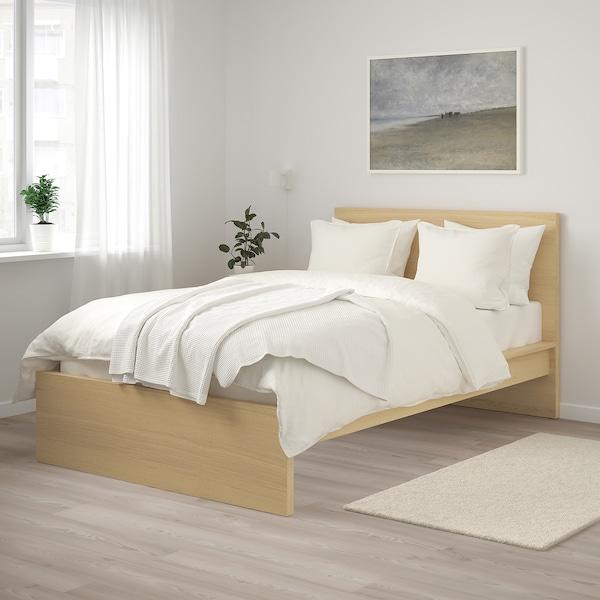 MALM Bed frame, high, white stained oak veneer/Lönset, 120x200 cm
