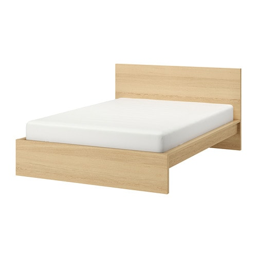 Malm Bed Frame High White Stained Oak Veneer Luroy 180x200 Cm