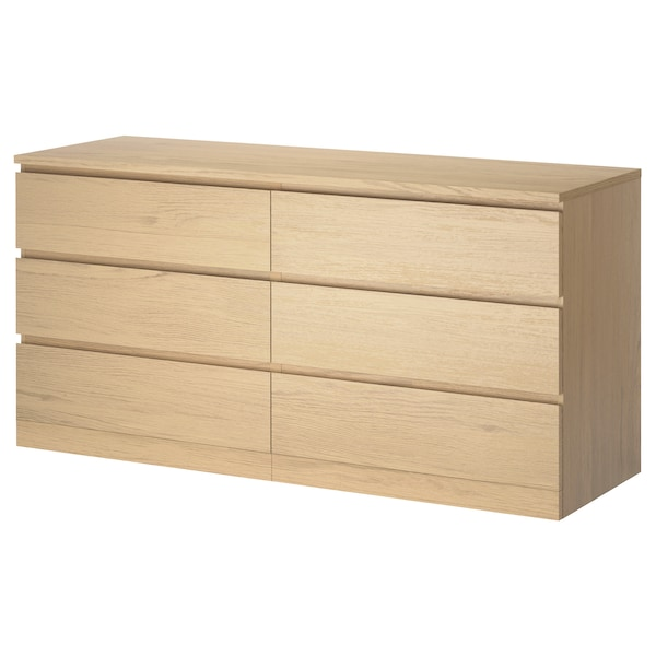 MALM Chest of 6 drawers, white stained oak veneer, 160x78 cm