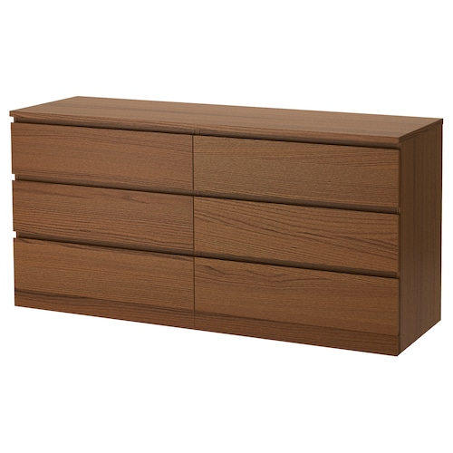 MALM chest of 6 drawers brown stained ash veneer 160 cm 48 cm 78 cm 43 cm