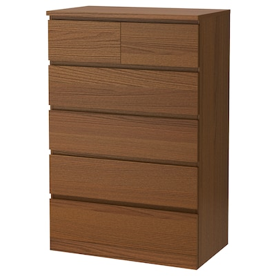MALM chest of 6 drawers brown stained ash veneer 80 cm 48 cm 123 cm 43 cm