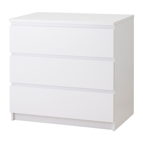 Malm Chest Of 3 Drawers White High Gloss Ikea