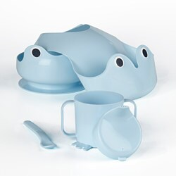 MATA 4-piece eating set, light blue