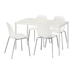 MELLTORP /  LEIFARNE table and 4 chairs, white marble effect, chrome-plated
