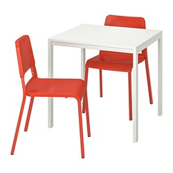 MELLTORP /  TEODORES table and 2 chairs, white, bright orange