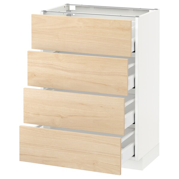 METOD Base cab 4 frnts/4 drawers, white Maximera/Askersund light ash effect, 60x37x80 cm