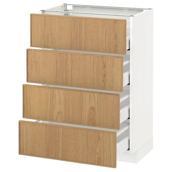 METOD Base cab 4 frnts/4 drawers, white Maximera/Ekestad oak, 60x37x80 cm