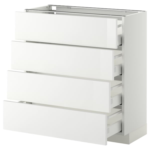 METOD Base cab 4 frnts/4 drawers, white Maximera/Ringhult white, 80x37x80 cm