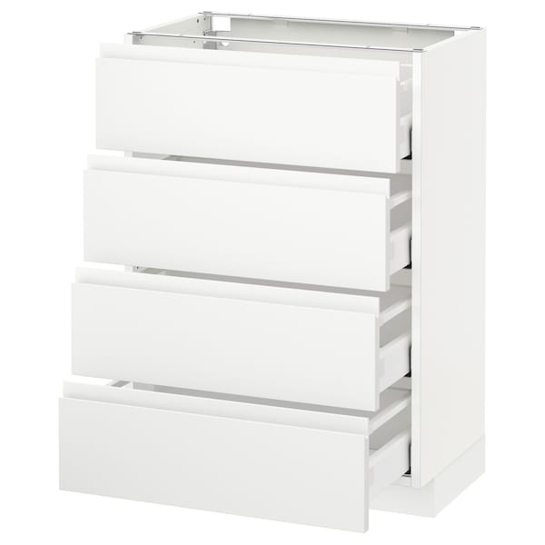 METOD Base cab 4 frnts/4 drawers, white Maximera/Voxtorp matt white, 60x37x80 cm