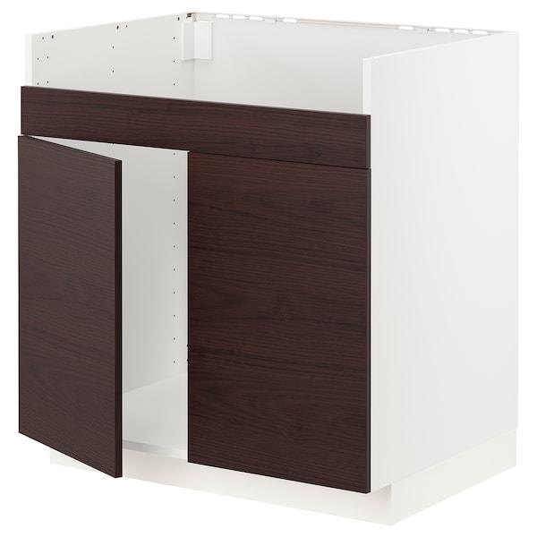 METOD Base cab f HAVSEN double bowl sink, white Askersund/dark brown ash effect, 80x60x80 cm