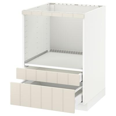 METOD Base cabinet f combi micro/drawers, white Maximera/Hittarp off-white, 60x60x80 cm